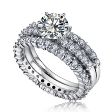 Allencoco platinum plated exquisited luxury engagement and wedding Diamond Ring