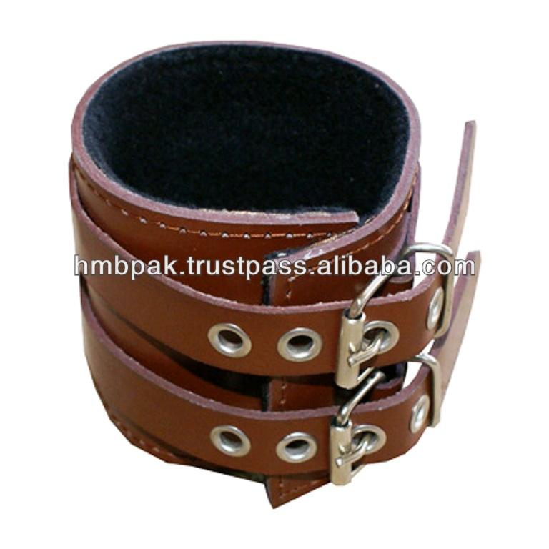 HMB-402B LEATHER WRIST BAND BRACELET DOUBLE STRAPS CUFFS