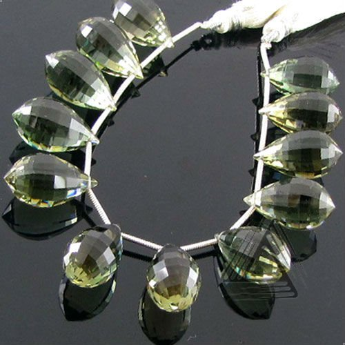 Hydro Green Amethyst Drops Shape Briolette Strands, Natural Wholesale Semi Precious & Precious Color Gemstone, Loose Beads