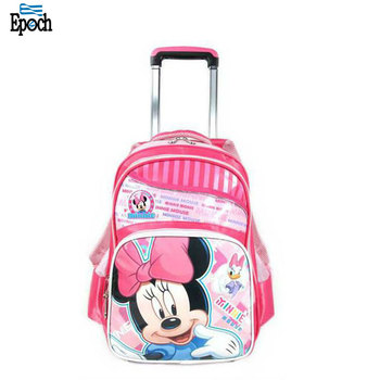 Wholesale kids cute cartoon mickey mouse trolley school bag with wheel