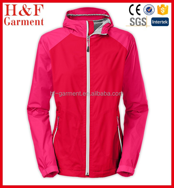 Women nylon taslan raincoat hooded in red and raspberry