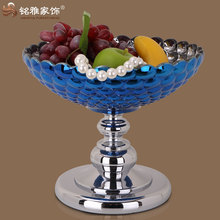 Manufavturer customized christmas decor blue glass craft fruit plate with stand