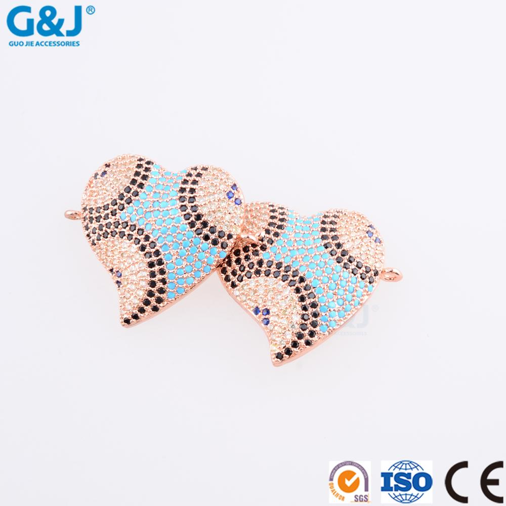 guojie brand wholesale Fashion Pendant Double CZ Heart jewelry charm For Necklace