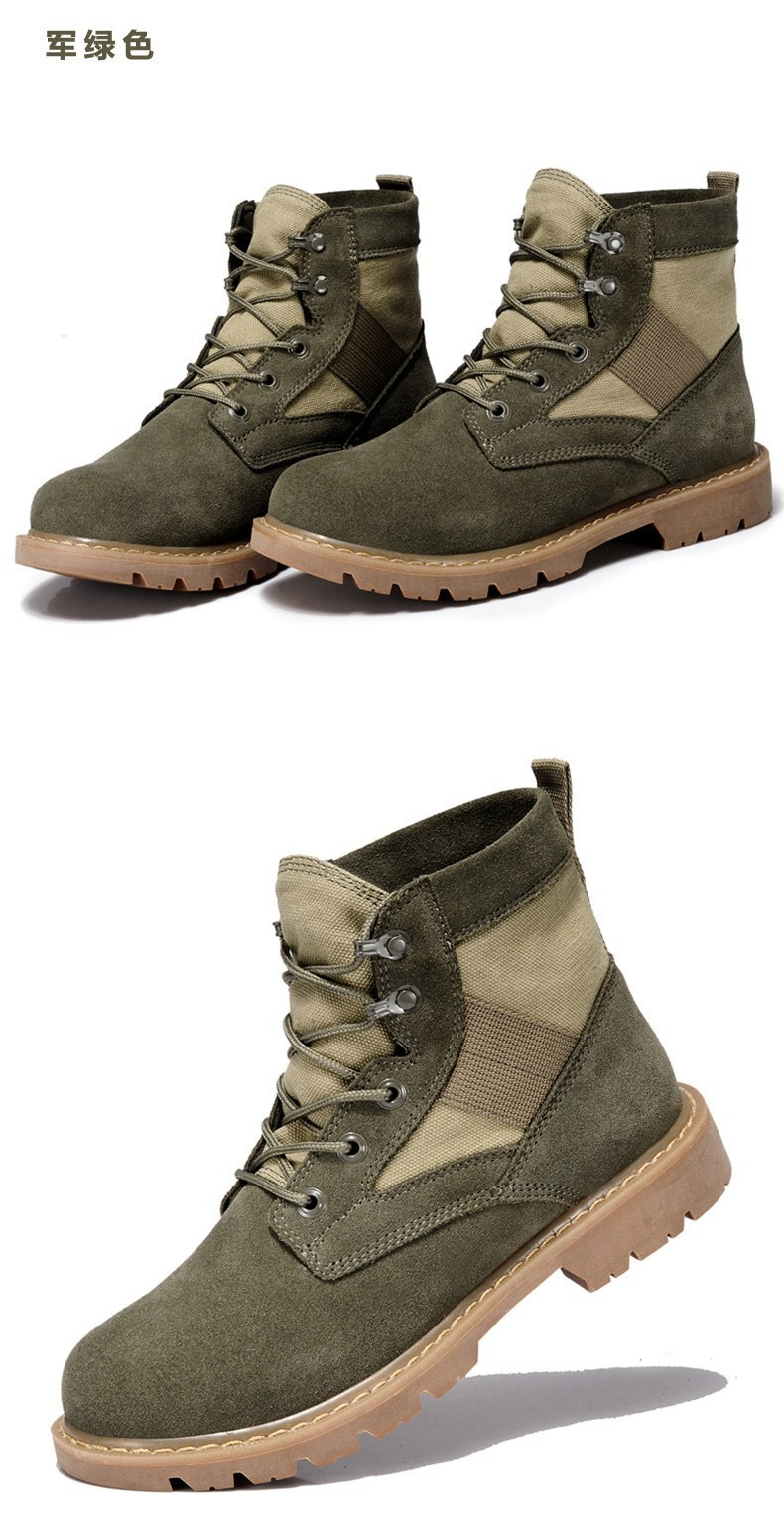 2016 hot sale army green Martin boots for men/women cow suede boots