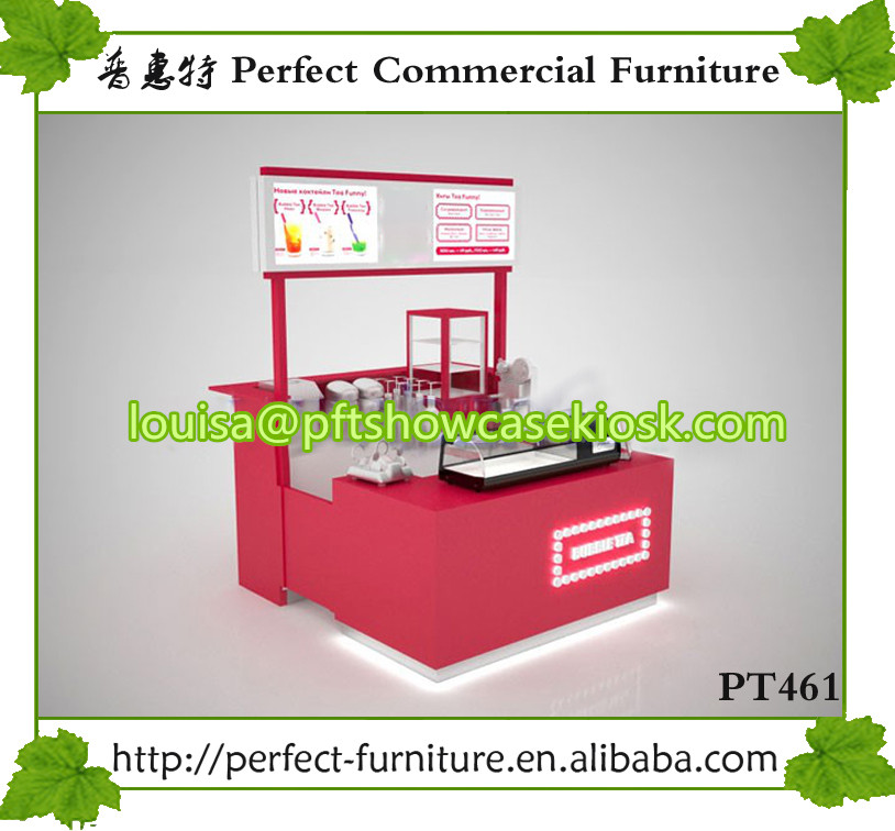 Cheap white color bubble tea kiosk design for mall