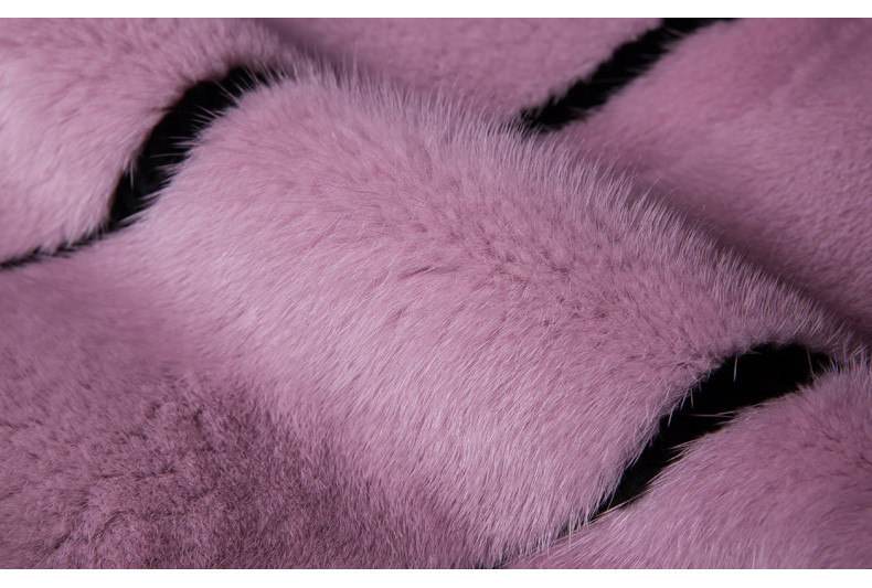 Top Quality Womens Long Pink Mink Fur Coat