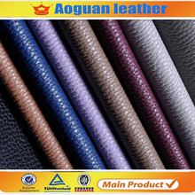 2017 hot sell shoe raw material litchi embossed pu artificial leather for shoe marking