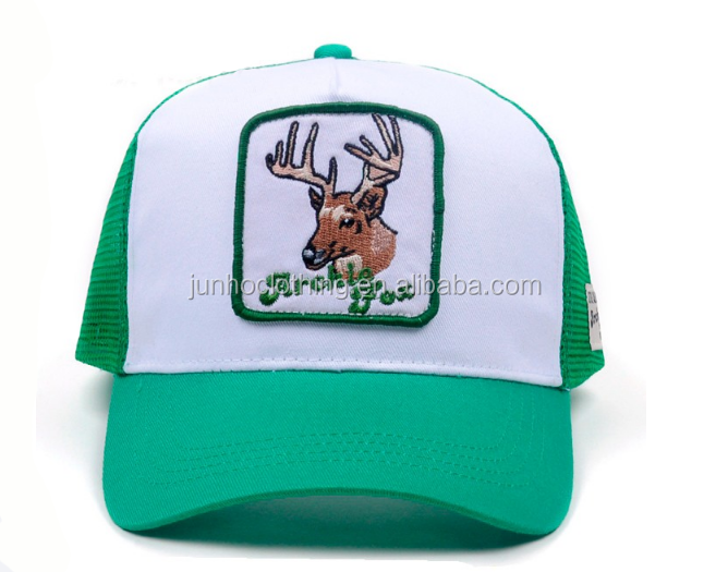 Front deer patch logo 5 panel cotton mesh trucker hat custom brand woven label on side trucke hats caps