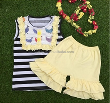 Fashion Teen Girls Sleeveless Boutique Cotton Outfit Children Summer Casual Wear Cheap Clothes Set Baby Clothes