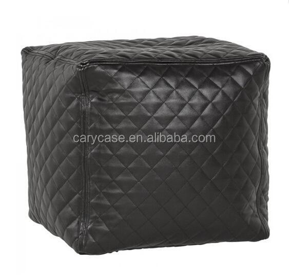 Quilting PU leather cube beanbag chair,Bean bag factory hot antique square bean bag stools