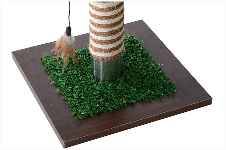 "15"" Artificial Grass Cat Scratching Post Activity Tree"