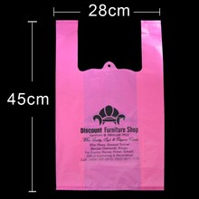 100% environmentaly friendly hdpe printed vest plastic t shirt bag
