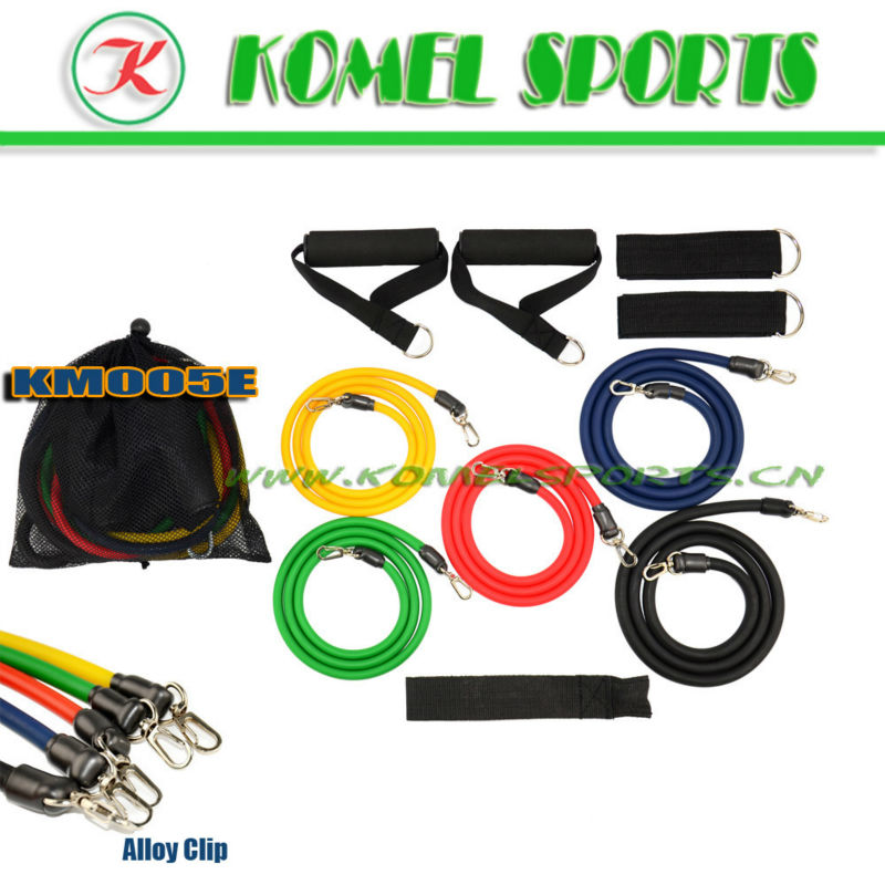 Amazon Hot Selling 11pcs Latex Exercsie Bands,Resistance Bands for ABS,Yoga,Pilates workout