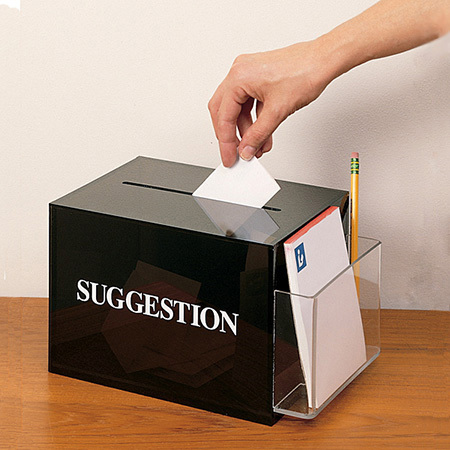 High Quality Acrylic Plastic Suggestion / Ballot or Donation Box