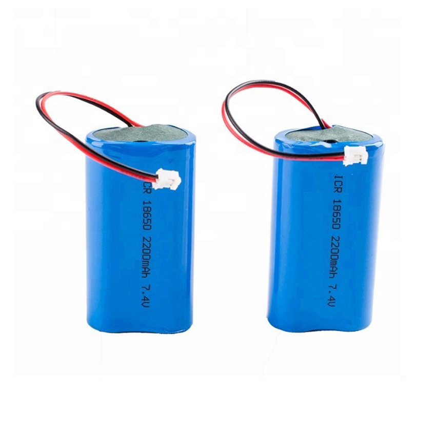Rechargeable li ion battery 18650 2s1p  7.4v 2200mah battery pack