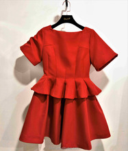 Red cocktail dress with 2017 Autumn Winter Chic Frill Hem Pleated Real Pictures of Cocktail Dress Short Sleeve Babydoll Dress