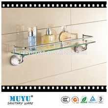 Manufacture single tier bathroom glass shelf with towel bar