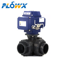 Double True union Thread UPVC Mini Electric Motorized 3 Way Ball Valve