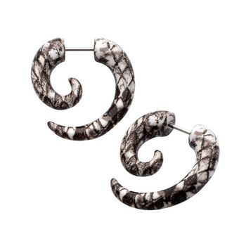 Snake Skin Print Acrylic Super Spiral Cheater Plugs