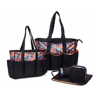 Wholesale high-capacity adult baby canvas diaper bag set fashion designer diaper tote bag with diaper pad