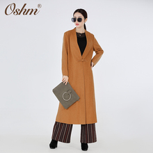 F856 Hot sale long style best quality light brown color cashmere wool winter coat for women