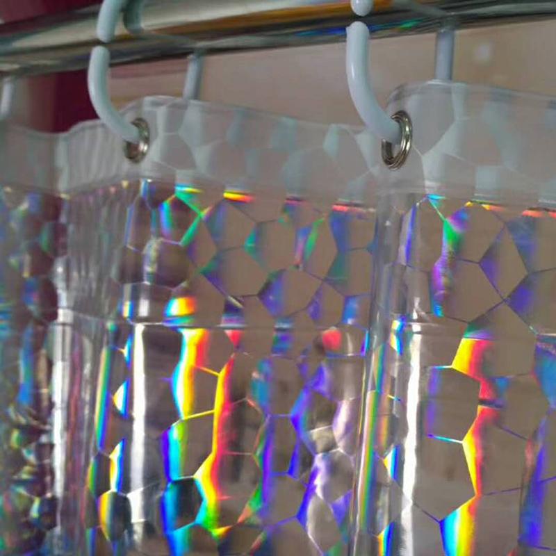 Mildrew Glitter EVA Rainbow Iridescent Shower Curtain Film