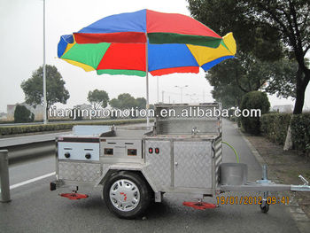 Large multi mobile electric hot dog cart with umbrella