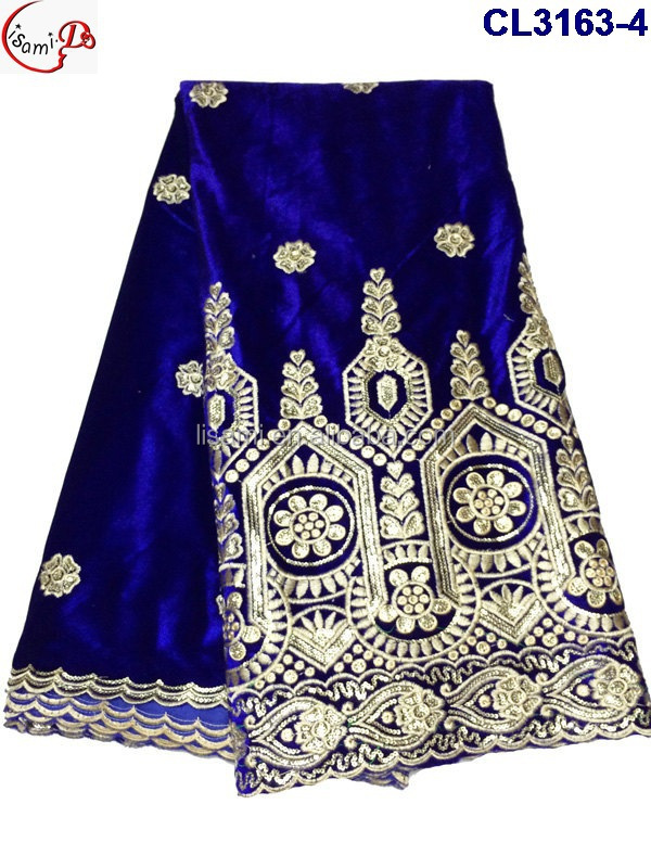 CL3163-1 2015 hot sale new design high quality African embroidery velvet lace soft material for making women dress