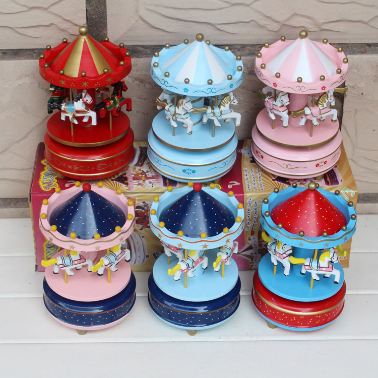 2016 Wooden Christmas Wind Up Carousel Music Box,Christmas Decoration Wooden Carousel Music Box