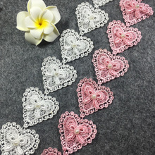 10 yards one string Lovely heart design with butterfly bow Polyester Embroidered flower Lace Ribbon Trim
