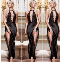 new arrival women black nightgown long night dress gown