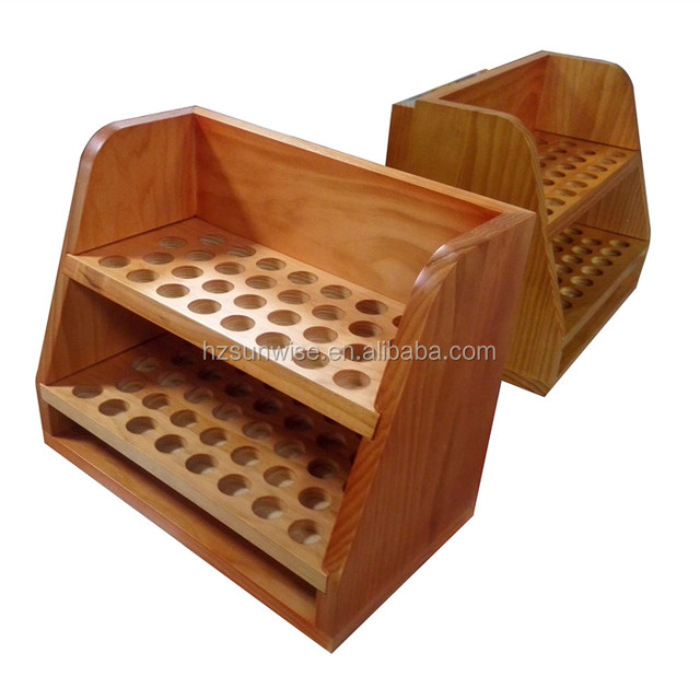 Cosmetic store small desktop pine wood essential oil stand