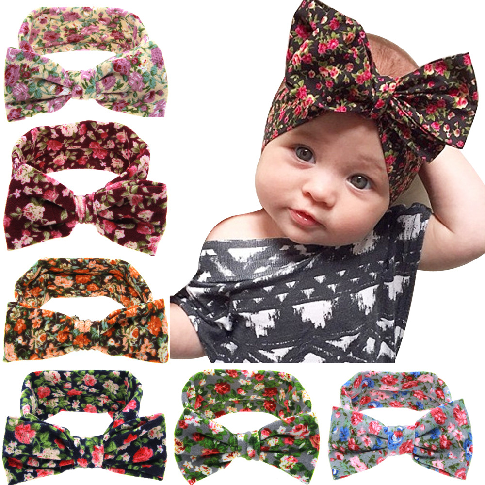 Cotton <strong>Headbands</strong> for Baby Girls Printing Flower Butterfly Knot Elasticity Children Kid Hair Accessory Hair Bands