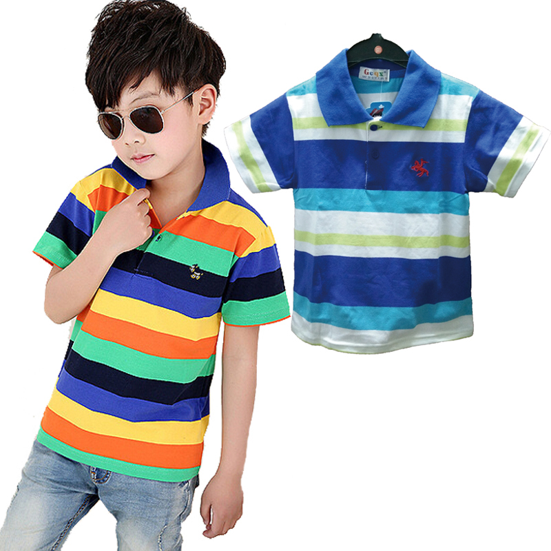 Summer popular style boys kids Polo shirts short-sleeve striped Polo shirt children clothing 100% cotton shirts 3-12 age DJ-015