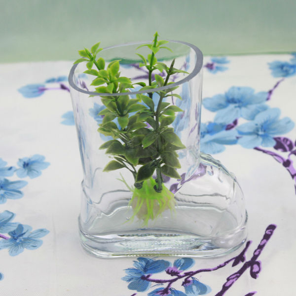 Beautiful cute fancy shaped small glass vase,large shoe boot shaped glass vases,glass fish bowl