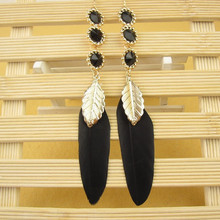 2015 Trendy arrival Zinc Alloy Designs Best Friends Feather Earrings For girls Hot sale Diy jewelry accessories