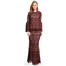 OEM service full lace dress lady elegant clothing islamic baju kurung