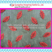 Red leaves appliques beaded soft Net Knitted Stretch lace fabric(7E00335-01)
