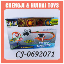 2014 new plastic spinning top toy car track set for kids spin shoot