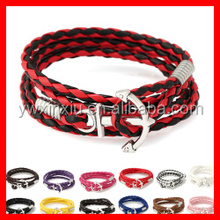 Fashion Unisex PU Leather Wrap Bracelet Lots of Colors with Silver Clasp Newest Anchor Bracelet