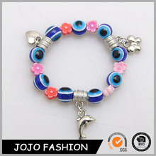 Beaded Charms Popular Evil Eye And Little Acrylic Beads Bracelet