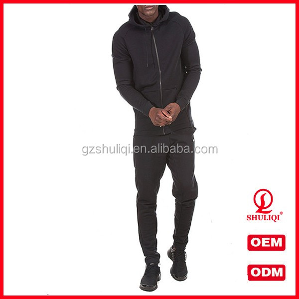 wholesale design your own tracksuit / black color men suit slim fit with factory price H-1908