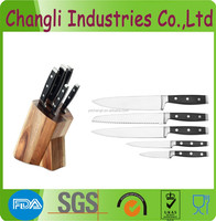 China wholesale stainless steel kitchen knife block set