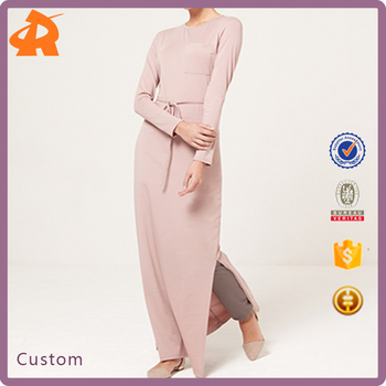 New Design Casual Style Nude Belted T-Shirt Maxi Muslim Style Dress Side Split