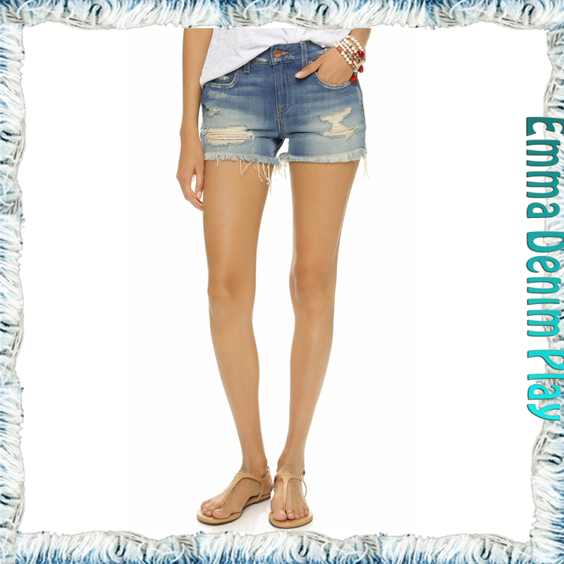 Factory China Low Rise Damaged Acid Wash Denim Shorts for Women Street Style