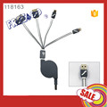 2017 USB3.0 PVC Retractable 1m/ 3ft 4 in 1 Micro usb cable for smart phone