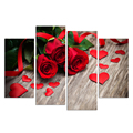4 Piece Canvas Art Love figure Posters Prints Flower Picture Shape of Love Red Rose Wall Art Painting for Living Room