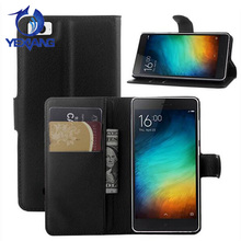 PU Leather Case for Xiaomi Mi 4i, Litchi Design Credit Card Wallet Stand Flip leather case cover for xiaomi mi4i
