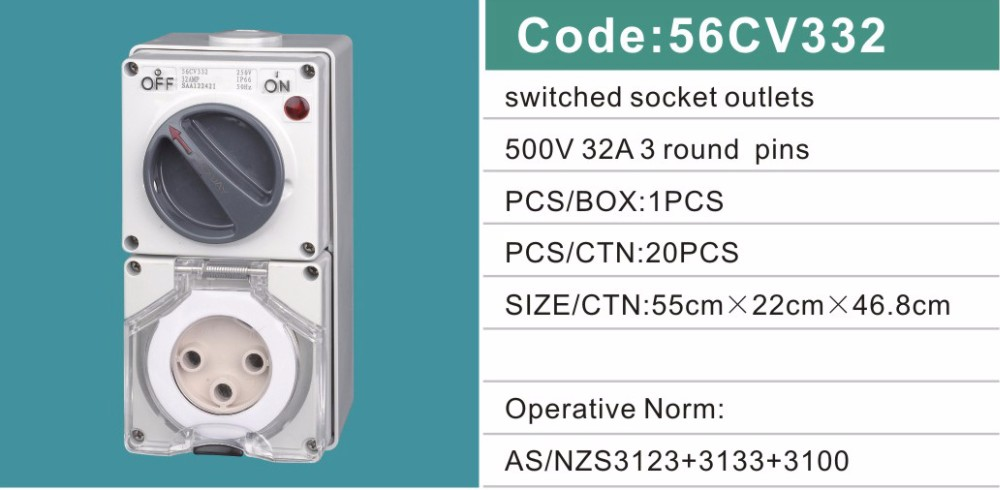 56CV332 IP66 SAA 32A 500V 3 Poles Industrial Electrical Combination Switch Socket