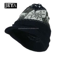 Personalized winter knitted baseball sports caps,knit visor custom jacquard knitted hats men caps